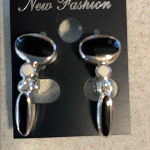 Monet Silver tone black stone clip on earrings